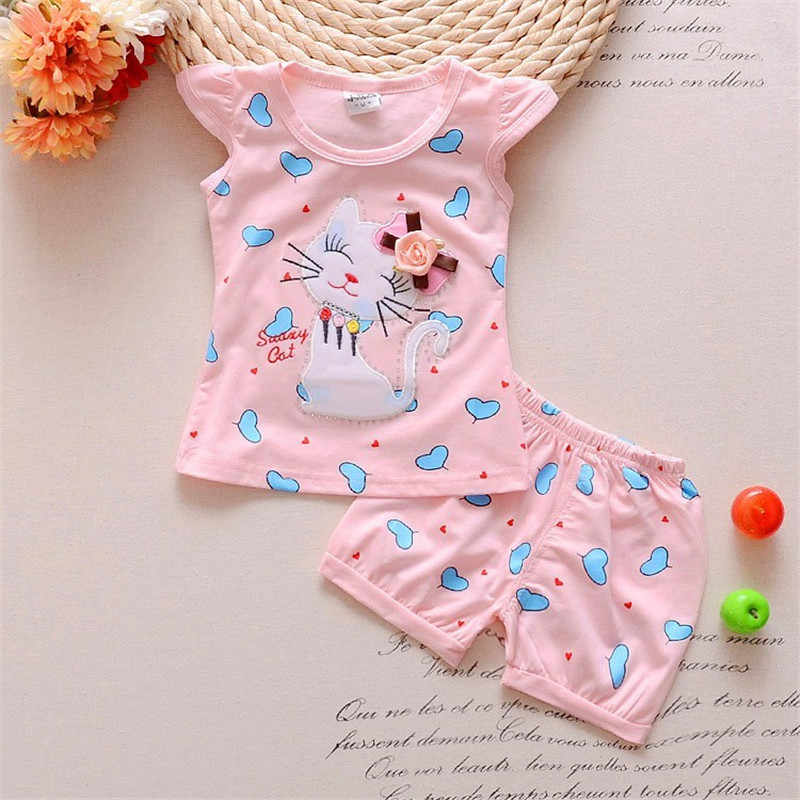 075900bbb8b07 BibiCola baby girls summer clothing sets toddler clothes children cartoon  cat 2pcs t shirt + shorts Bebe Girls Summer Clothing
