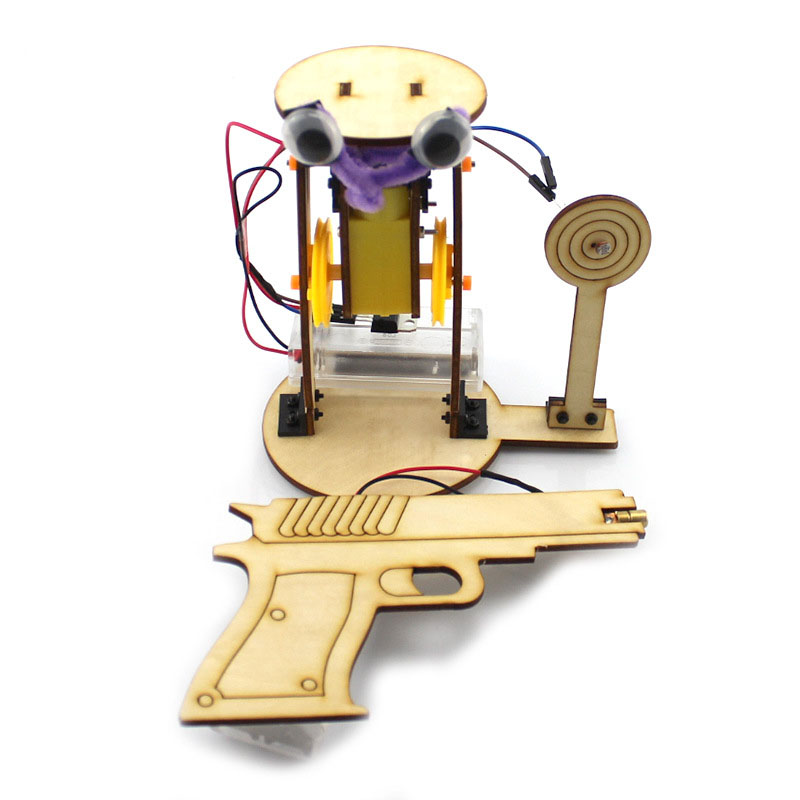 DIY Aim Shooting Gun Handmade Toys Physical Gizmo Building Blocks Kits Solar Energy Assembled Toy Teaching Tool
