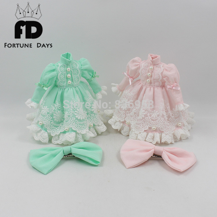 free shipping blyth doll icy licca body lace dress bow knot pink green princess suit clothes 1/6 30cm toy gift green casual lace beaded suit