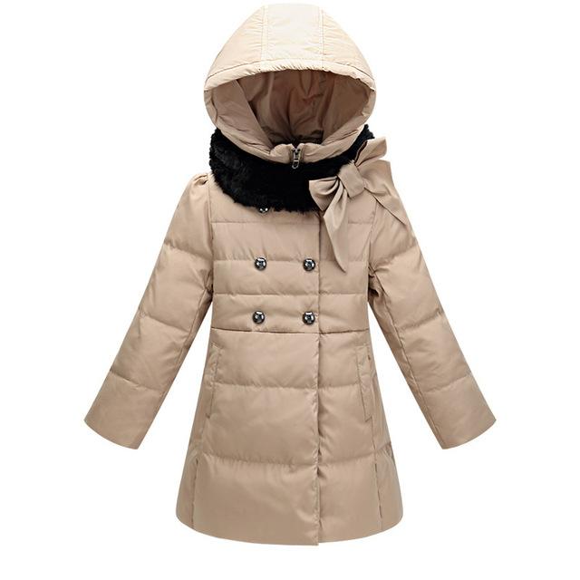 2016 inverno Novas Meninas Da Forma Verme Mais Grosso Para Baixo Casaco Outerwear Crianças 6-14 anos clothesing crianças Casual Longa Com Capuz Casaco Dowm