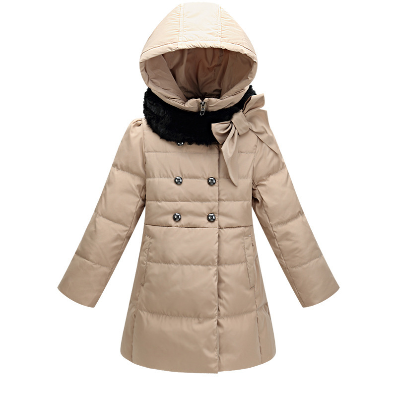2016 winter New Fashion Girls Thicker Worm Down Jacket Outerwear Children 6-14 year clothesing kids Casual Long Hooded Dowm Coat
