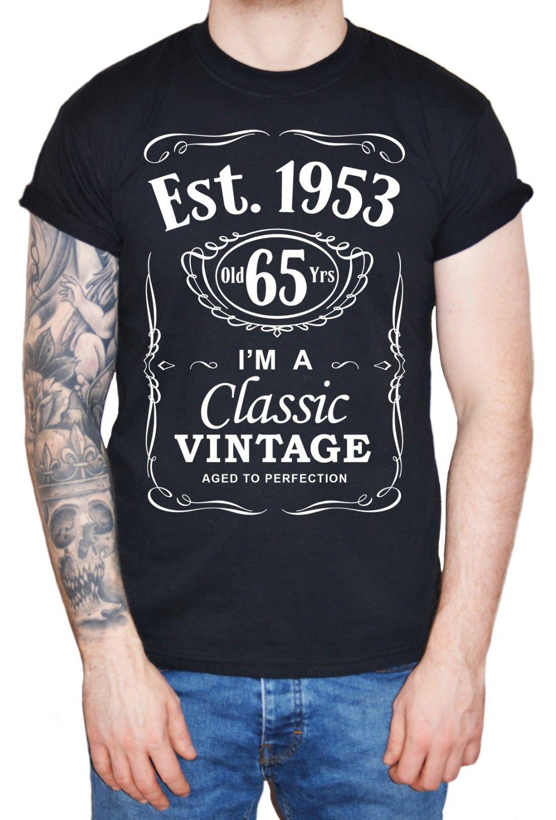 847c2066 2019 New Cool Tee Shirt Men's 65th Birthday T-Shirt Est 1953 Vintage Man  Sixty Fifth 65 years Gift