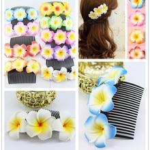 4x fashion25 видов цвет обуви, которую вы выбрали сказочные Гавайи Плюмерия цветы мыло ФРАНЖИПАНИ Расческа с цветами Клип Свадебные зажимы для волос
