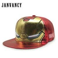 Janvancy PU Leather Kids Baseball Caps Cartoon Children Adjustable Hats Flat Bone Snapback Birthday Gift Fashion