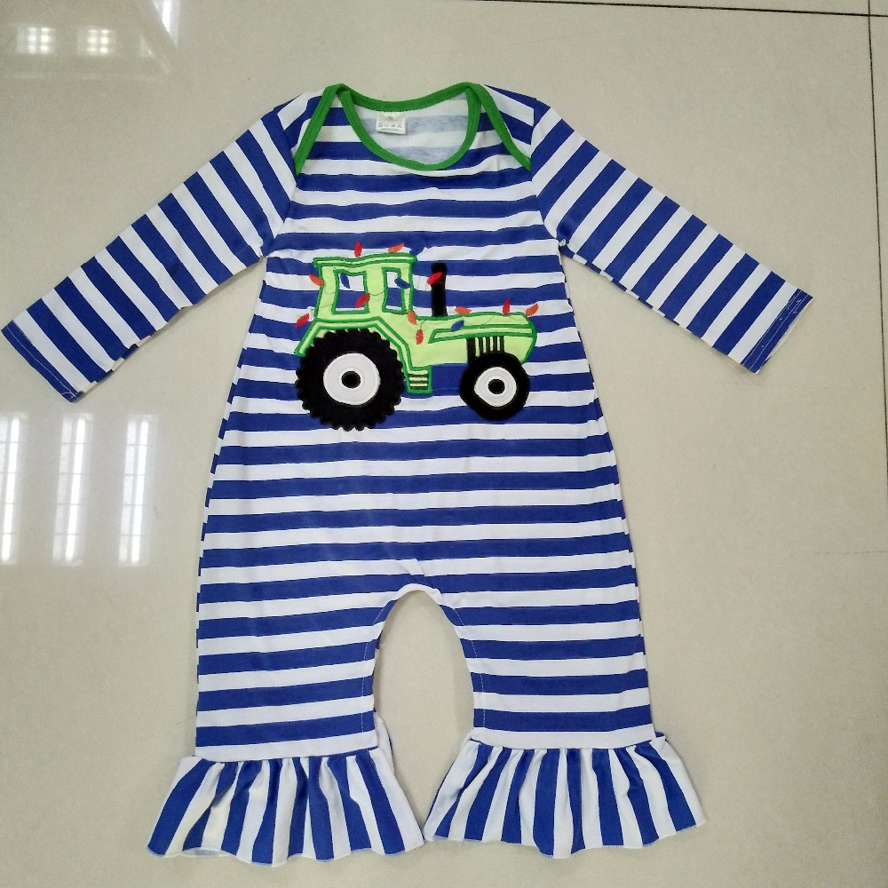 Back To School Baby Romper Girls Winter Blue Striped Jumpsuit Newborn Embroidery Rompers Long Sleeve Autumn Clothes R012 cotton baby rompers set newborn clothes baby clothing boys girls cartoon jumpsuits long sleeve overalls coveralls autumn winter