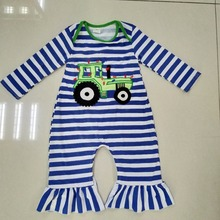 Back To School Baby Romper Girls Winter Blue Striped Jumpsuit Newborn Embroidery Rompers Long Sleeve Autumn Clothes R012