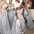 A Line One Shoulder Silver Beaded Crystals Seequins Long Silver Chiffon Bridesmaids Dresses Wedding Party Dresses