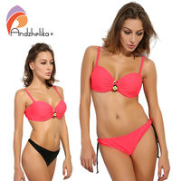 Andzhelika Swimsuit 2017 Newest Sexy Bikini Woman Push Up Swimwear Solid Drawstring Bikini Set Two Bottoms