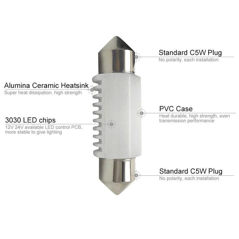 Cnsunnylight Kualitas Tinggi 3030 Chip C5W C10W LED 31/36/39/41 Mm Mobil Memperhiasi Lampu Interior lampu Dome Membaca Lampu Putih 12V 24V