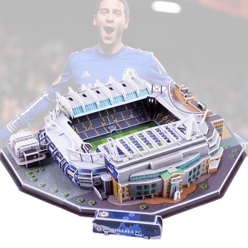 Clásico Jigsaw 3D puzle arquitectura Reino Unido Stamford Bridge Reino Unido fútbol estadios juguetes báscula modelos conjuntos de papel de construcción