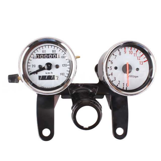 Motorcycle Odometer & Tachometer Speedometer Speedo Gauge Backlight With Bracket