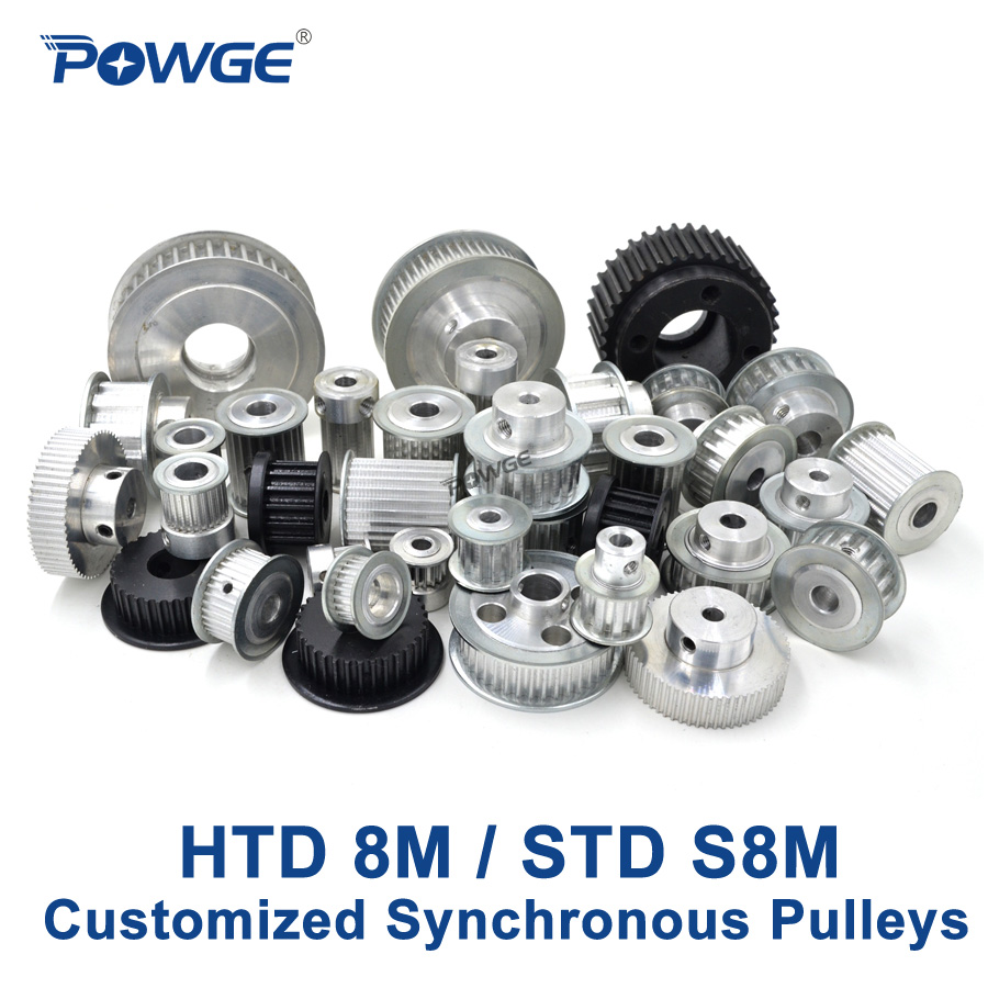 POWGE Arc Teeth HTD 8M STD S8M Synchronous pulley pitch 8mm wheel Gear Manufacture Customizing all