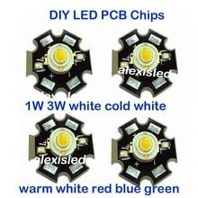 HANGYUE 1 шт. 1 Вт 3 Вт Высокая мощность СВЕТОДИОДНЫЙ полный спектр белый теплый белый зеленый синий темно-красный 660nm Королевский синий с 20 мм черная звезда PCB