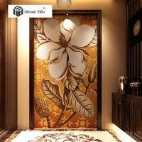 Mosaico di vetro murale Decor art crafts personalizzato Ibisco sfondo mosaici parietali fiore bianco piastrelle