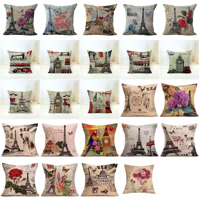 Linen Cotton Cushion Cover Retro Vintage Franch Paris  Tower Pillow Cover Car Sofa Throw Pillowcase Home Decor 45 X 45 Cm Cases