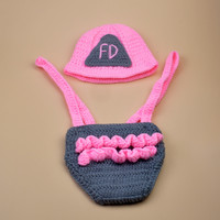2016 New Pink Color Cotton Newborn Photography Props Costume Hand Crochet Knit Infant Fireman Baby Hat