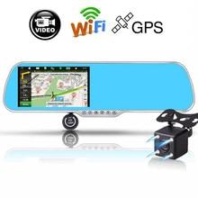 """Новый 5 """"android touch автомобильный видеорегистратор gps-навигация зеркало заднего вида автомобиля камера два объектива Wi-Fi регистраторы Full HD 1080 P видеомагнитофон"""