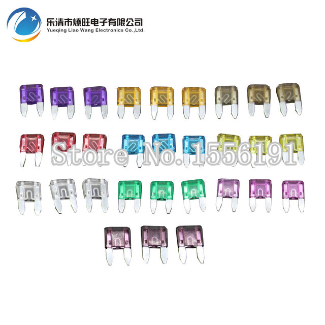 30PCS 3~40A Small Size Auto fuse, 3pcs for each specification, Automotive Fuses Blade,The fuse Insurance insert Lights Fuse