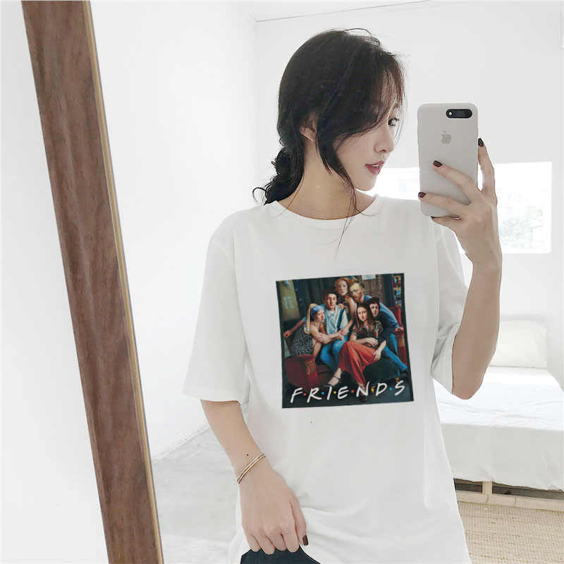 FRIEND letter print female T-shirt New Van Gogh oil painting funny spoof summer Harajuku casual plus size S-2XL women clothing