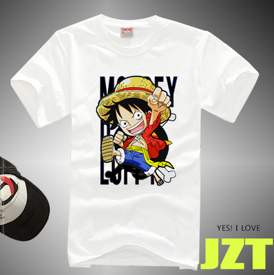 Japan Anime One Piece OP Short Sleeve T-shirt Anime Cartoon White Top Trafalgar Law Law Cotton Men's Short Sleeve image