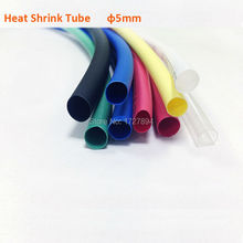 цена на 10m/lot Black/Red/Yellow/Blue/Green Heat shrink tube Tubing 5mm Insulation Sleeving Tube