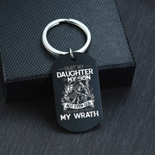 PERSONALIZED DOG TAG KEY CHAIN HURT MY DAUGHTER OR MY SON EVEN GOD CAN SAVE YOU(China)