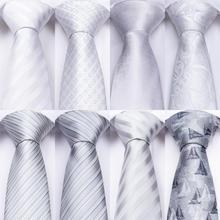 DiBanGu Designer 18 Colors White Sliver Mens Ties Hanky Cufflinks Set Silk Neck ties For Men Wedding Party Business Tie