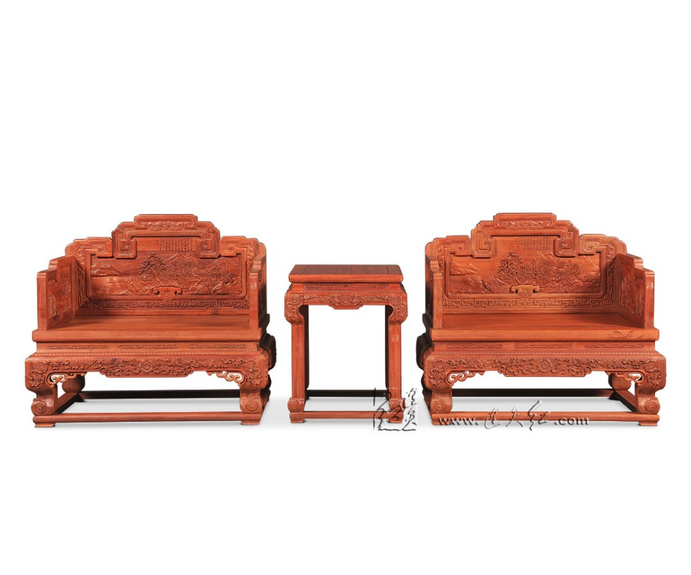 Home Living Room Chair 3 Pieces Set Roosewood Chinese Royal Throne Small Tea Table Solid Wood Backed Armchair Suit Antique Desk