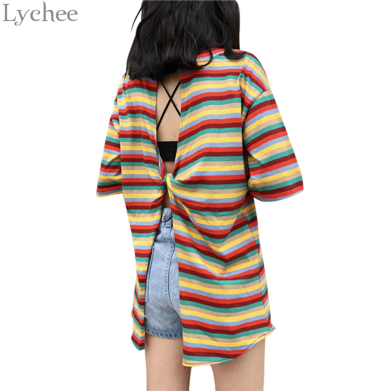 Lychee Harajuku Back Hollow Striped Summer Women T Shirt Casual Short Sleeve T Shirts Loose Sexy Tee Top Female