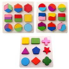 3D Wooden Puzzle Montessori Toy Geometric Shape Cognitive Board Sorting Math Jigsaw Puzzles Early Educational Toys For Children(China)