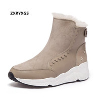 ZXRYXGS Brand Warm winter boots Women Shoes Boots Snow Boots 2018 New Winter Sneaker Casual Shoes Flat Wedges Cow Leather Boots