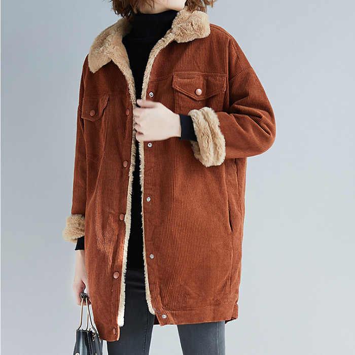 2019 новые зимние хлопковые пальто Harbor Штормовка модные Повседневное тонкий Простой Большой Размеры вельвет дикой шерсти длинные женские Ретро A18