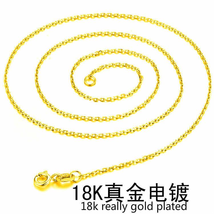 1 مللي متر الذهب رقيقة سلسلة قلادة للنساء الرجال مجوهرات القلائد و المعلقات Charms مجوهرات المختنق Colar سلسلة بدلاية بالجملة