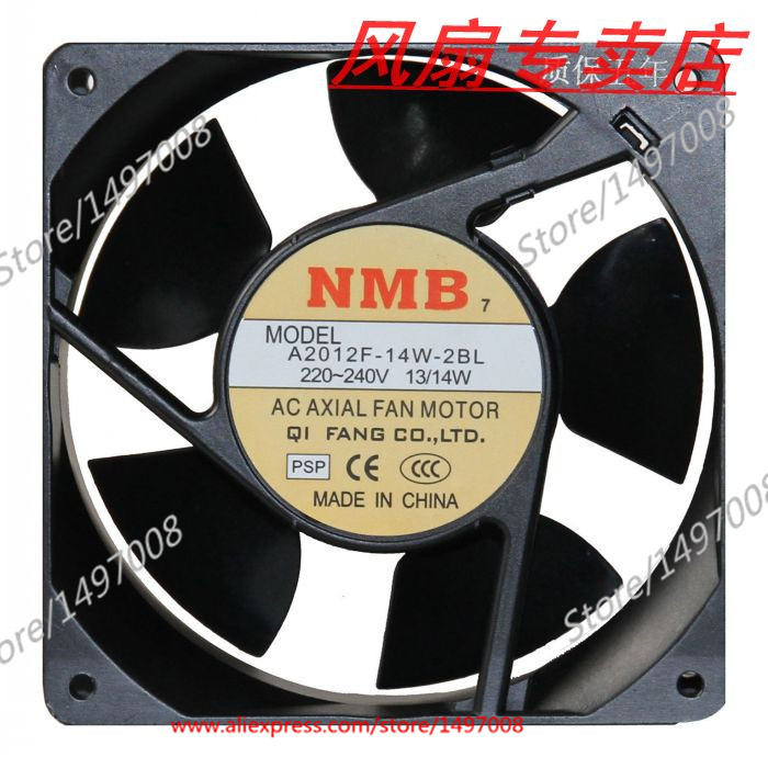Free Shipping For NMB A2012F-14W-2BL, PSP AC 220V 13W, 120x120x38mm 0-wire Server Square cooling fan 2 38 2012