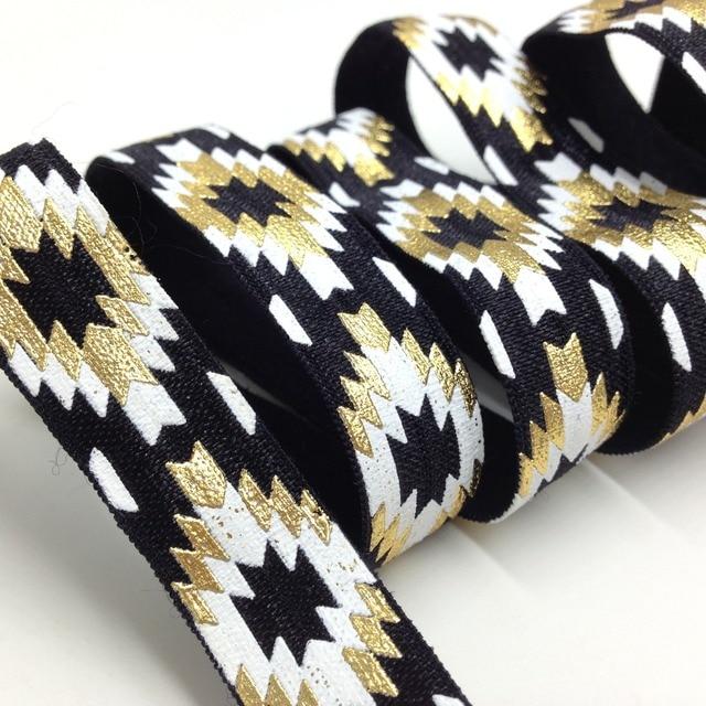 5 Yards 5/8 Black Gold Foil Aztec Printed FOE Elastic Ribbon, DIY Hair Ties, Elastic, Elastic by the yard Diy Headband Elastic