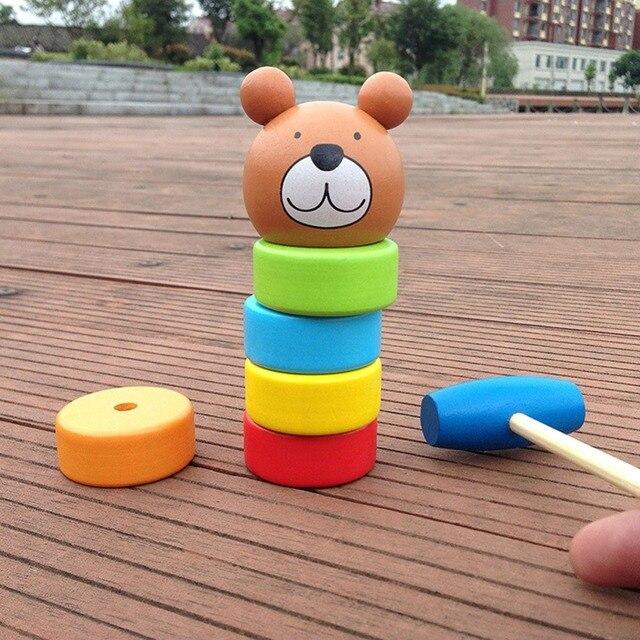 Juguetes Educativos de madera Apilar Bloques de Juguete Bloques De Madera Torre Arco Iris de Dibujos Animados Bebé Juguetes para Niños Kids Brinquedos Regalo