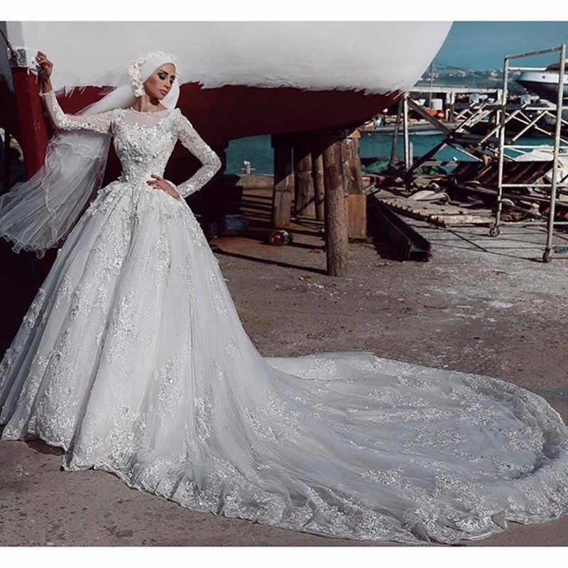 Белое 2019 мусульманское свадебное платье бальное платье с длинными рукавами Свадебный букет Бохо элегантное женское вечернее платье халат De Mariee Sofuge