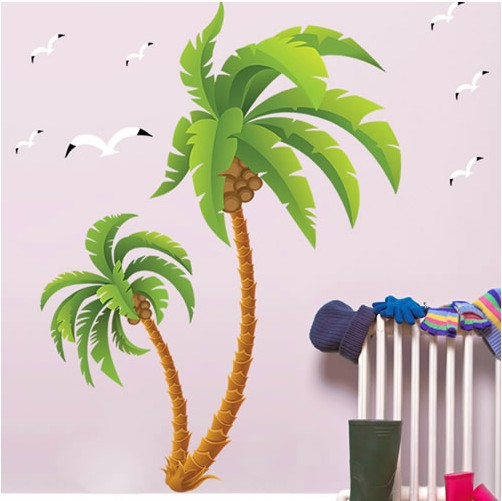 ... New 2016 Larger Tall Palms Tree Wall Sticker Pvc Wall Paper Home; Palm  ... Part 96
