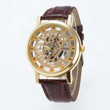 цена Fashion Skeleton Sports Outdoor Men Watch Style Brand transparent Hollow Business Wristwatch Leather Quartz Watches Clock онлайн в 2017 году