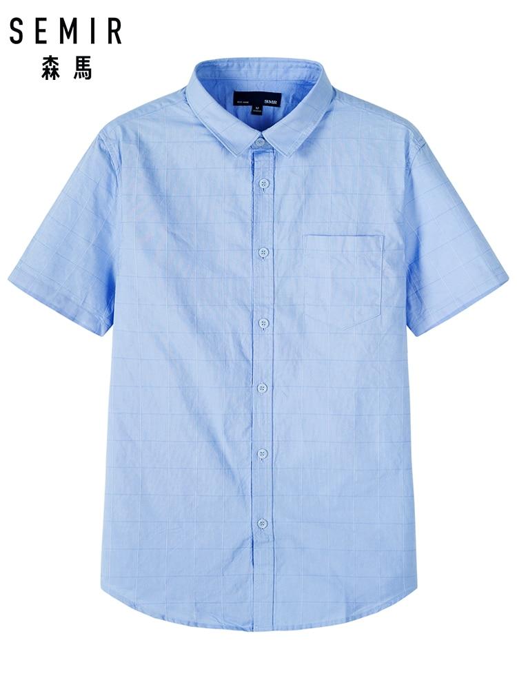 SEMIR 2019 Fashion Men Shirts Slim Fit Men's Casual Shirts Short Sleeve Turn-Down Collar Formal Shirts Men Clothes 2019 Camisa