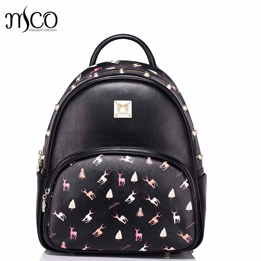 Hot Sale Fashion Elk Printing Rivets Casual PU Women Leather Ladies Girls Backpack School Travel Shoulders Bags Student Daypack casual weaving and flower design shoulder bag for women