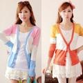 Estilo del verano 2015 nueva corea damas de manga larga Cardigan de punto mujeres suéteres de rayas de Color de contraste diseño Cardigans YB274