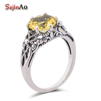 Szjinao fashionable sweet princess gem finger ring 925 sterling silver ancient yellow crystal stone rings for women wholesale