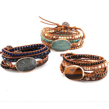 Fashion Women Leather Bracelet Handmade Mixed Natural Stones Crystal Stone Charm 5 Strands Wrap Bracelets DropShippers(China)