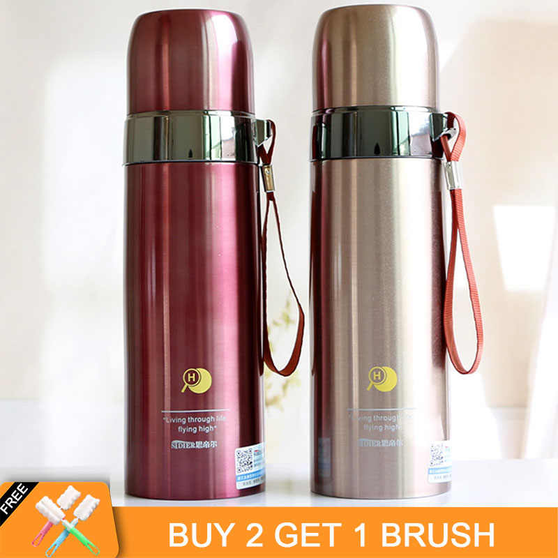 350ML/500ML Portable Bullet Stainless Steel Thermos with Cups Travel Coffee Thermos Tea Bottle Vacuum Flask for Water Thermoses