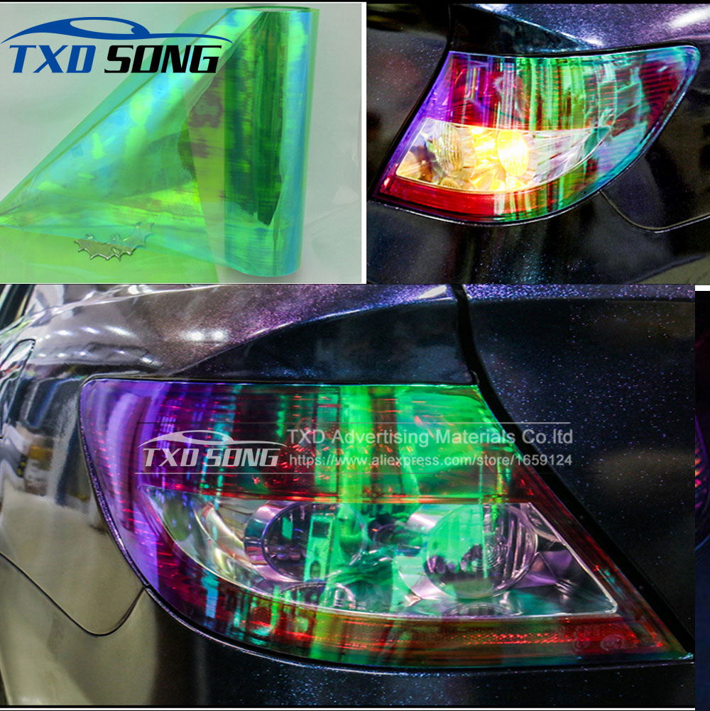 2 Rolls/Lot Shiny Chameleon Auto Car Styling headlights Taillights Translucent film lights Turned Change Color Car film Stickers