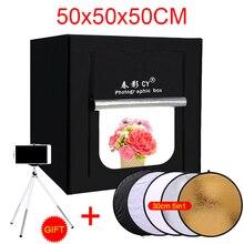 CY 50*50*50 cm Photo Studio LED boîte douce Lumière de Tir Tente photo lumière tente ensemble + sac portable + 3 Rideaux + gradateur pour jouet