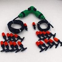 20 M 4/7mm slang twee manier koppeling Outdoor Tuin Verneveling Koelsysteem 20 Plastic Vernevelingskop Sprinkler water kits systeem jk016
