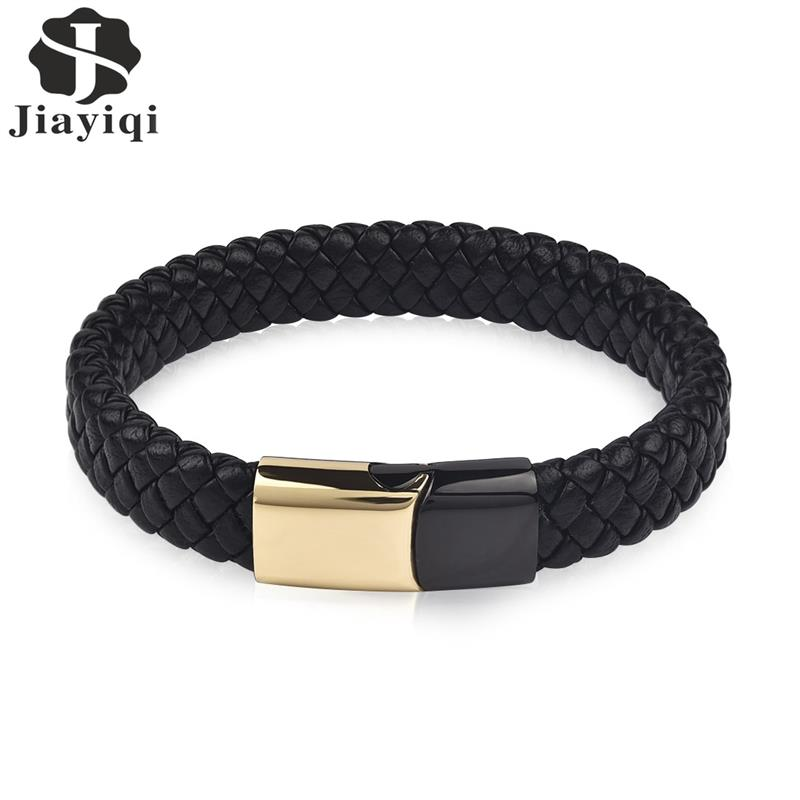 Jiayiqi Punk Men Braided Black Genuine Leather Bracelet Gold Color Stainless Steel Bangles for Male Jewelry Magnetic Buckle