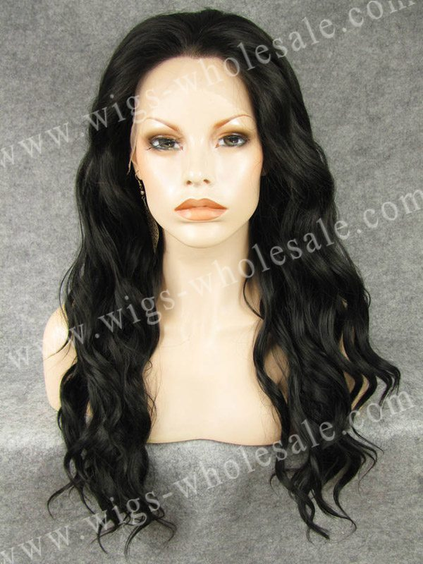 ФОТО Elegant Long Wavy Natural Black Wig  Heat Resistant Synthetic Lace Front Wig